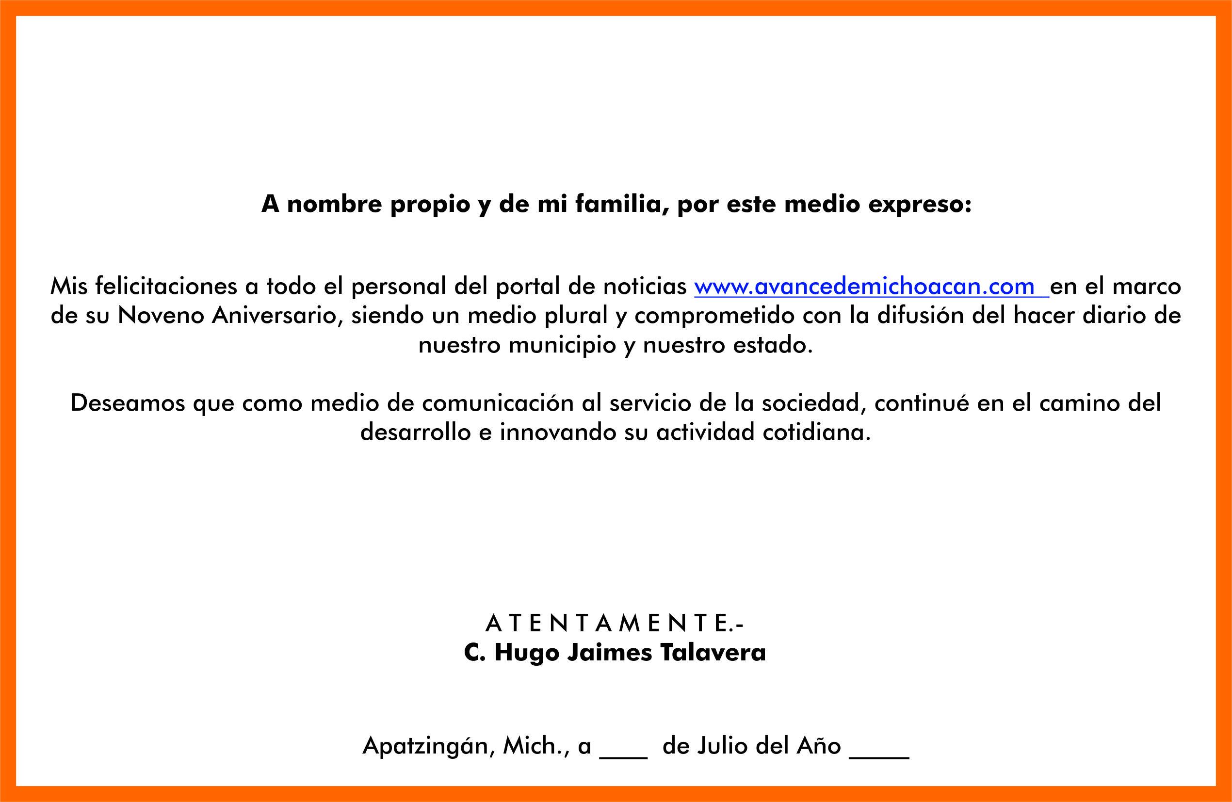 Hugo Jaimes Talavera y Familia, felicita a Grupo Avance - Avance de ...
