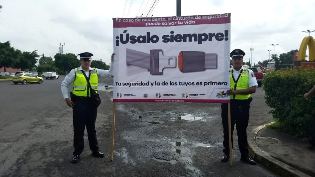 Fomenta SSP uso del cinturón de seguridad en Morelia